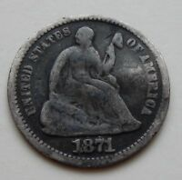 1871 SEATED LIBERTY HALF DIME   SILVER COIN