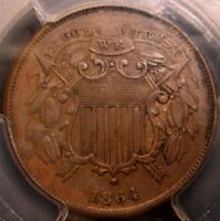 1864 TWO CENT PIECE, SMALL MOTTO VARIETY, AWESOME DETAIL, PCGS AU50