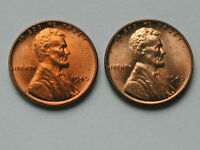 LOT OF 2 1945 LINCOLN WHEAT CENT COINS - ONE CENT 1 - BU UNC RED - TONE SPOTS