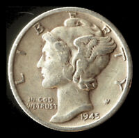 1945 S MERCURY 90  SILVER DIME SHIPS FREE. BUY 5 FOR $2 OFF