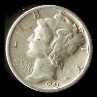 1943 S MERCURY 90  SILVER DIME SHIPS FREE. BUY 5 FOR $2 OFF