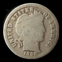 1898 P BARBER 90  SILVER DIME SHIPS FREE. BUY 5 FOR $2 OFF