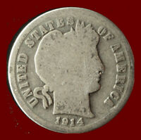 1914 P BARBER 90  SILVER DIME SHIPS FREE. BUY 5 FOR $2 OFF