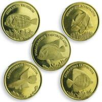 MALUKU SET OF 5 COINS FISHES MARINE LIFE COIN 2017