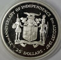1987 JAMAICA $25 D 25TH ANNIVERSARY INDEPENDENCE COMMEMORATIVE PROOF SILVER COIN