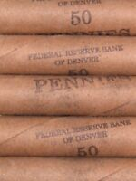 FIVE  FRB DENVER LINCOLN WHEAT CENT PENNY ROLLS OLD US COINS 1909 1958 P D S