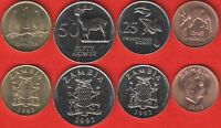 ZAMBIA SET OF 4 COINS: 1 NGWEE   1 KWACHA 1983 1992 UNC