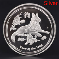 2018 THE DOG COMMEMORATIVE COLLECTION COIN SIVER PLATED COIN NEW YEAR GIFTS FF
