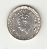 1943 BRITISH INDIA KGV1 HALF RUPEE SILVER COIN UNC.
