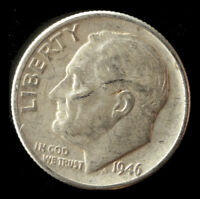 1946 P ROOSEVELT 90  SILVER DIME SHIPS FREE. BUY 5 FOR $2 OFF