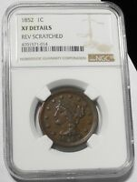 1852 BRAIDED HAIR LARGE CENT 1C KEY DATE BETTER GRADE EXTRA FINE  $ GRADED NGC