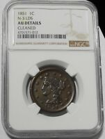 1851/81 BRAIDED HAIR LARGE CENT 1C N3 LDS KEY DATE BETTER GRADE AU $ NGC