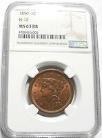 1850 BRAIDED HAIR LARGE CENT 1C N12 KEY DATE HIGH GRADE MINT STATE 63 RB $ GRADED NGC