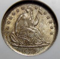 1838 NGC MINT STATE 65 SEATED LIBERTY HALF DIME