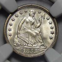 1855 NGC MINT STATE 67 ARROWS SEATED LIBERTY HALF DIME