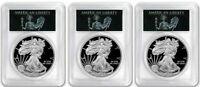 2018-W PROOF $1 SILVER EAGLE PCGS PR70 FDOI SET LIBERTY - DC, DENVER, & PHIL