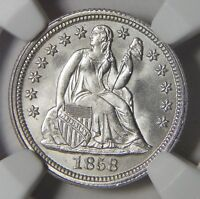 1858 NGC MINT STATE 67 SEATED LIBERTY DIME