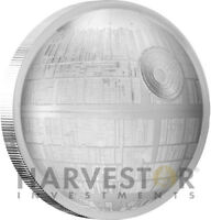2018 STAR WARS DEATH STAR   ULTRA HIGH RELIEF   2 OZ. SILVER CURVED COIN   W/OGP
