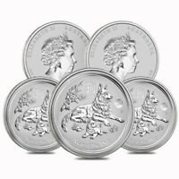 LOT OF 5   2018 1 OZ SILVER LUNAR YEAR OF THE DOG LION PRIVY