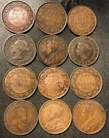 OLD CANADA COIN LOT   1871 1920   12 LARGE CENT COINS   LOT