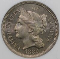 1889 3CN THREE CENT NICKEL NGC PF 66