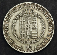 1842 HESSE CASSEL  ELECTORATE  WILLIAM II. LARGE SILVER THALER COIN. VF AXF