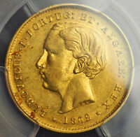 1862 PORTUGAL LUS I.  GOLD 5 000 REIS COIN. 2 YEAR TYPE  PCGS AU 55