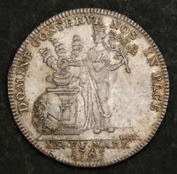 1765 NUREMBERG FRANCIS STEPHEN. BEAUTIFUL LARGE SILVER THALER COIN. TONED AU