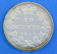 1858 QUEEN VICTORIA CANADIAN 20 CENT COIN STERLING SILVER CANADA