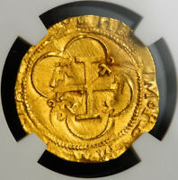 1555 CHARLES & JOANNA OF SPAIN. GOLD ESCUDO COIN. SEVILLE MINT  NGC MS 62