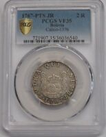 1767 POTOSI 2 REAL PCGS VF35 CHARLES III BOLIVIA ASSAYER JR SPAIN COLONIAL