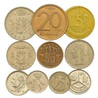 10 BELGIUM COINS FRANCS CENTIMES BELGIAN OLD COLLECTIBLE COINS SET