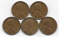 1938S 1939D 1939S 1940D 1940S LINCOLN WHEAT CENT CENTS 5 COIN LOT