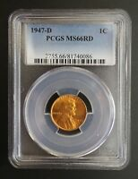 1947 D LINCOLN WHEAT CENT PCGS MINT STATE 66 RD 002