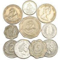 10 COINS FROM EAST CARIBBEAN STATES  OECS  OLD COLLECTIBLE COINS DOLLAR CENTS