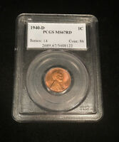 1940 D LINCOLN WHEAT CENT PCGS MINT STATE 67 RD