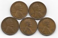 1930 1930D 1930S 1931 1931D LINCOLN WHEAT CENT CENTS 5 COIN LOT