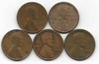 1921 1921S 1923 1923S 1924S LINCOLN WHEAT CENT CENTS 5 COIN LOT