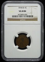 1914-D 1C LINCOLN CENT NGC VG 8 BN ONE OF THE KEY DATES  LC588