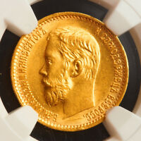 1899 RUSSIA EMPEROR NICHOLAS II. BEAUTIFUL GOLD 5 ROUBLES COIN. NGC MS 62