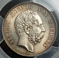 1900 KINGDOM OF SAXONY GEORGE I. ATTRACTIVE SILVER 2 MARK COIN. PCGS MS 64