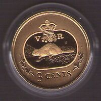2001 CANADA 24 K GOLD STERLING SILVER 3 CENT COIN