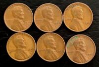 LOT OF 6 1944-1945 P, D, S  1C LINCOLN WHEAT CENTS