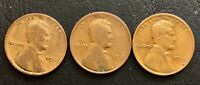 LOT OF 3  1910, 1911 & 1913  1C LINCOLN WHEAT CENTS