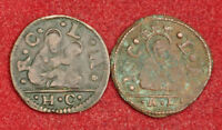 1519 1600S VENICE ANONYMOUS COINAGE. NICE COPPER BAGATTINO COINS. 2PCS