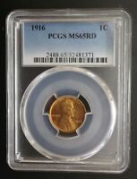 1916 LINCOLN WHEAT CENT PCGS MINT STATE 65 RD