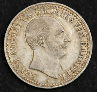 1839 KINGDOM OF HANNOVER ERNEST AUGUST I. SILVER THALER COIN. 1 YR TYPE  XF