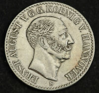 1841 KINGDOM OF HANNOVER ERNEST AUGUST I. SILVER THALER COIN. 1 YEAR TYPE  XF