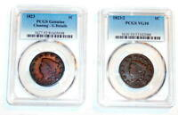 2 PCGS 1823 G AND 1823/2 1823 OVER 2 LARGE CENT VG 10 CORONET HEAD KEY DATES
