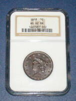 NGC 1818 LARGE CENT DIE CRACK MINT STATE 62 CORONET HEAD COPPER 1C